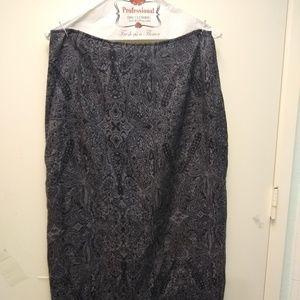 Grey/Black Paisley Straight-line Skirt - Size 10
